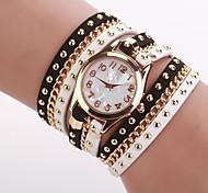 Женские Модные часы Часы-браслет Кварцевый PU Группа Черный Белый