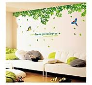 Недорогие -настенные наклейки наклейки на стены, стиль свежие зеленые листья и птицы пвх наклейки