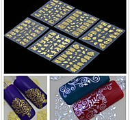 cheap -6PCS  3D Golden Flower  Nail Art Stickers