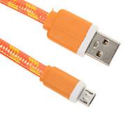 baratos -Micro-USB 2.0 USB 2.0 Adaptador de cabo USB Entrançado Raso Cabo Para 15 cm Náilon