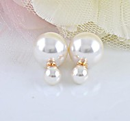 cheap -Women's Pearl Imitation Pearl Stud Earrings - Fashion White Earrings For Daily