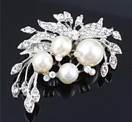 Women Pearls CZ Crystal Wedding Brooch for Birde