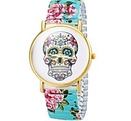 cheap -Women's Bracelet Watch Casual Watch Alloy Band Flower / Skull / Fashion Black / White / Blue