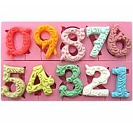 Недорогие -большой размер 0-9 номера в форме помадной торт шоколадный силиконовые формы см-318