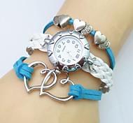 cheap -Women's Wrist watch Bracelet Watch Fashion Watch Quartz Casual Watch Leather Band Heart shape Bohemian White