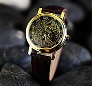 preiswerte -Herrn Mechanischer Handaufzug Mechanische Uhr / Armbanduhr Transparentes Ziffernblatt Leder Band Charme Braun