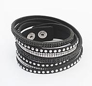 cheap -Women's Crystal Leather Leather Bracelet Wrap Bracelet - Fashion Adjustable European Button Green Blue Pink Bracelet For Party