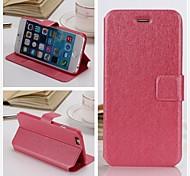 Недорогие -iPhone 6 - Кейс со стендом/Чехол - Сплошной цвет/Кожа ( Красный/Черный/Синий/Розовый/Серый/Бежевый , Искусственная кожа )