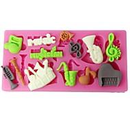 Недорогие -Four-C силиконовые Кубок торт плесень музыкальные инструменты sugarpaste формы розовый цвет