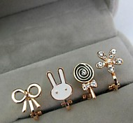 European  Rabbit Alloy Clip Earrings(More Color)(1Pc)