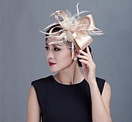 cheap -Feather Satin Fascinators Headwear with Floral 1pc Wedding Special Occasion Casual Outdoor Headpiece