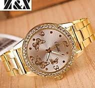 женская мода алмазов бабочка зеркало Кварцевые аналоговые стали пояса часы