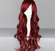 Women Synthetic Wig Long Deep Wave Red Side Part With Bangs Halloween Wig Carnival Wig Costume Wig