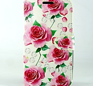 Pink roses PU Leather Full Body Wallet Protective Case with Stand and Card Slot For Huawei Ascend G620s