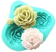 4 rosas silicone molde do bolo acessórios ferramentas de cozimento de cozinha fondant de chocolate molde Sugarcraft ferramentas de