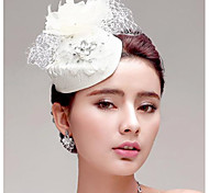 Mulheres Penas Strass Tecido Rede Capacete-Casamento Ocasião Especial Ao ar Livre Flores Chapéus 1 Peça