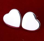 Недорогие -В форме сердца Серьги-гвоздики Бижутерия Женский Сердце Свадьба Для вечеринок Повседневные Стерлинговое серебро 2 шт. Серебряный