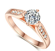 Classic 18K Gold Plated 1ct Top CZ Diamond Stone Wedding Finger Rings for women