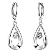 cheap -Women's Stud Earrings AAA Cubic Zirconia Bridal Fashion Simple Style European Zircon Cubic Zirconia Copper Silver Plated Drop Jewelry