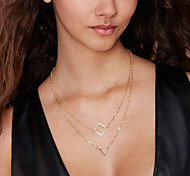 Недорогие -Женский Квадратный Геометрической формы Мода Двойной слой Слоистые ожерелья Сплав Слоистые ожерелья ,