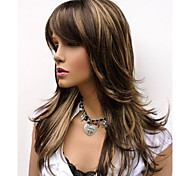 Cheap Women Synthetic Wigs Natural Long Alice Turned Brown with Golden Highlights Wig For Woman