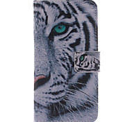 White Tiger Design PU Leather Full Body Case with Stand and Protective Film for Wiko Highway