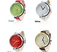 2015 Luxus-Frauen-Armband-Quarz-Uhr-Süßigkeit Farbe Option PU-Band Geschenk für Damen