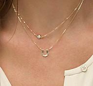 Женский Слоистые ожерелья Искусственный бриллиант Сплав Мода Двойной слой Первоначальные ювелирные изделия бижутерия Бижутерия Назначение