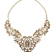 Europe and the United States Vintage Costly Lace Metal Hollow Out Flower Filaments Lady Short Necklace