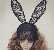 cheap -Lace Rabbit Bunny Ears Veil headbands Mask Hair Accessories Elegant Style