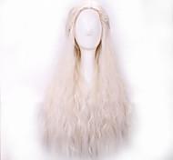 жен. Парики из искусственных волос Без шапочки-основы Длиный Волнистые Белый Прямой пробор Парик с косичками Парик для Хэллоуина