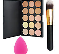 Pro Party 15 Colors Contour Face Cream Makeup Concealer Palette + Powder Brush+Power Puff