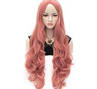 жен. Парики из искусственных волос Без шапочки-основы Очень длинный Естественные кудри Розовый Парик для Хэллоуина Карнавальный парик
