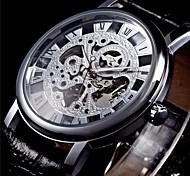 preiswerte -WINNER Herrn Mechanischer Handaufzug Mechanische Uhr / Armbanduhr Transparentes Ziffernblatt PU Band Schwarz