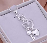 Damen Anhänger Heart Shape Silber beschichteter Stahl Strass Modisch Süß lieblich Schmuck Für Alltagskleidung Verabredung