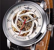 preiswerte -WINNER Herrn Automatikaufzug Mechanische Uhr / Armbanduhr Transparentes Ziffernblatt PU Band Charme Schwarz