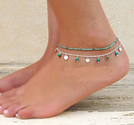 cheap -Turquoise Anklet Barefoot Sandals - Women's Unique Design Fashion Bikini Jewelry Turquoise Alloy Anklet For Party Daily Casual Beach