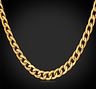 cheap -Men's Stainless Steel Gold Plated Chain Necklace Vintage Necklace - Fashion Gold White Necklace For Wedding Party Daily Casual