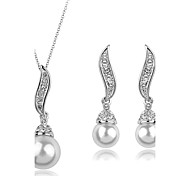 cheap -Women's Pearl / Cubic Zirconia / Imitation Diamond Cute Jewelry Set Earrings / Necklace - Luxury / Party / Fashion Gold / Silver Jewelry