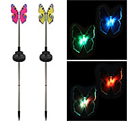 Pack of 2 Solar Fiber Optic Color-Changing Butterfly Garden Stake Light