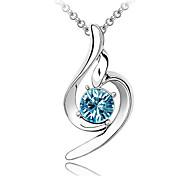 Women's Pendant Necklaces Crystal Crystal Alloy Yellow Rose Blue Pink Light Blue Jewelry Wedding Party 1pc