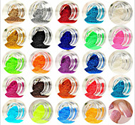 24PCS Mixed Colors Small Delicate Nail Art Glitter Powder Nail Art Foil Strip Powder Arylic Powder for Nail Decorations