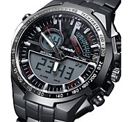 cheap -Men's Digital Military Watch Alarm / Calendar / date / day / Noctilucent Stainless Steel Band Charm / Luxury Black