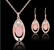 Collier / Boucles d'Oreille (Rose Plaqué Or / Zircon Cubique) Mignon / Soirée / Travail pour Femme