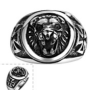 Maya Classical Individual Delicate Generous Lion King Stainless Steel Man Ring(Black)(1Pcs)