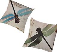 набор 2 синий&зеленые стрекозы наволочка диван крышку подушки домашнего декора (17 * 17 дюймов)