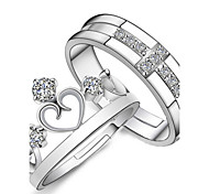 Women's Couple Rings Heart Fashion Sterling Silver Crystal Rhinestone Cross Crown Jewelry For Gift Daily Casual