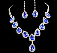 cheap -Women's Cubic Zirconia Imitation Diamond Jewelry Set Earrings Necklace - Cute Party Colorful Fashion Gold Blue Jewelry Set For Party