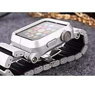 Faixa de relógio para relógio de maçã 38mm pulseira de metal com fivela de borboleta de 42mm com conector