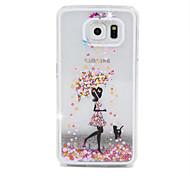 Недорогие -Девушка поток песка шт Материал сотовый телефон случае для Samsung Galaxy S6 / S6 край